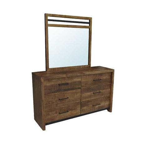 Warehouse 6 Drawer Dresser /w Mirror