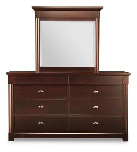 Hudson Valley 6 Drawer Long Dresser /w Mirror