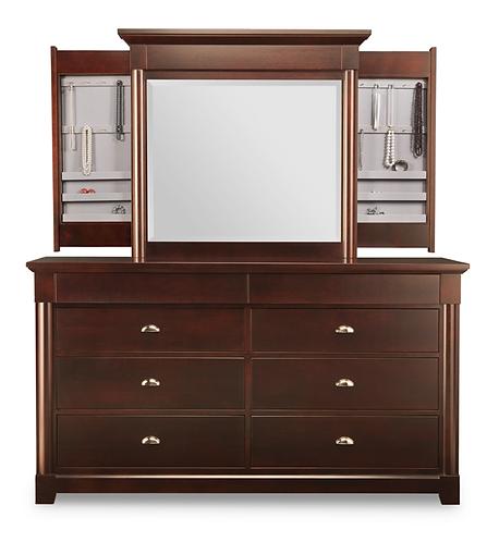 Hudson Valley 8 Deep Drawers Long Dresser /w Jewellery Mirror