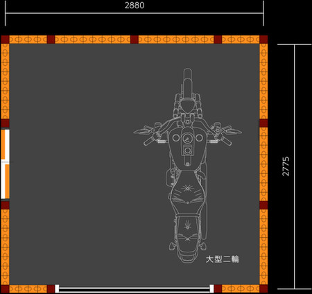 大型バイク用ガレージキットの平面図   九州・福岡のバイクガレージ