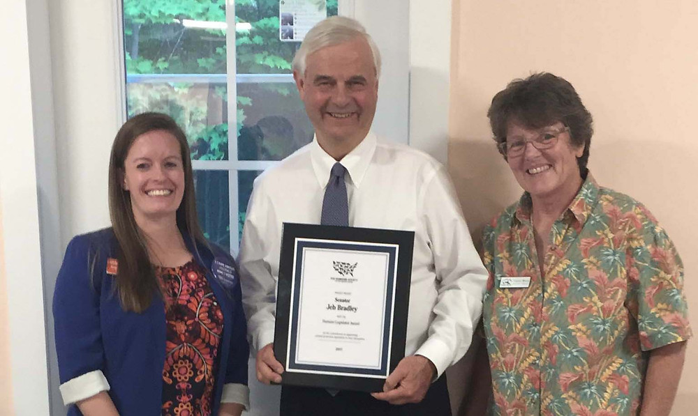 NH Senator Jeb Bradley HSUS Humane Legislator of the Year Award 2018
