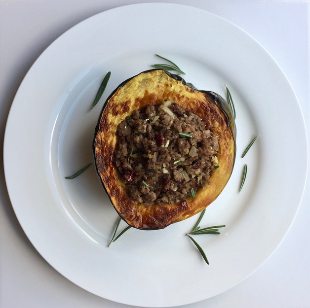 Stuffed Acorn Squash with Rosemary & Cranberries
