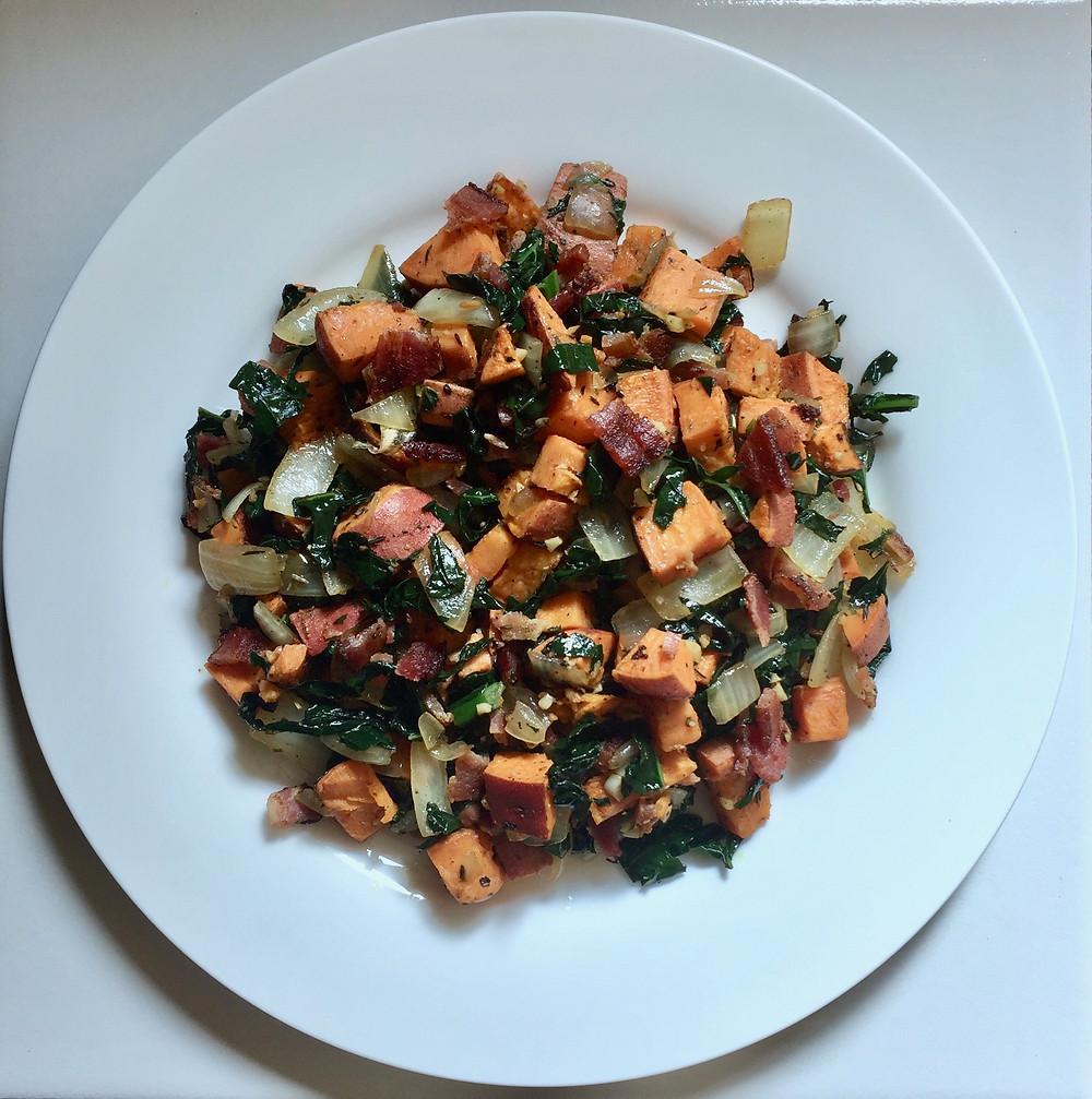 sweet potato bacon and kale hash