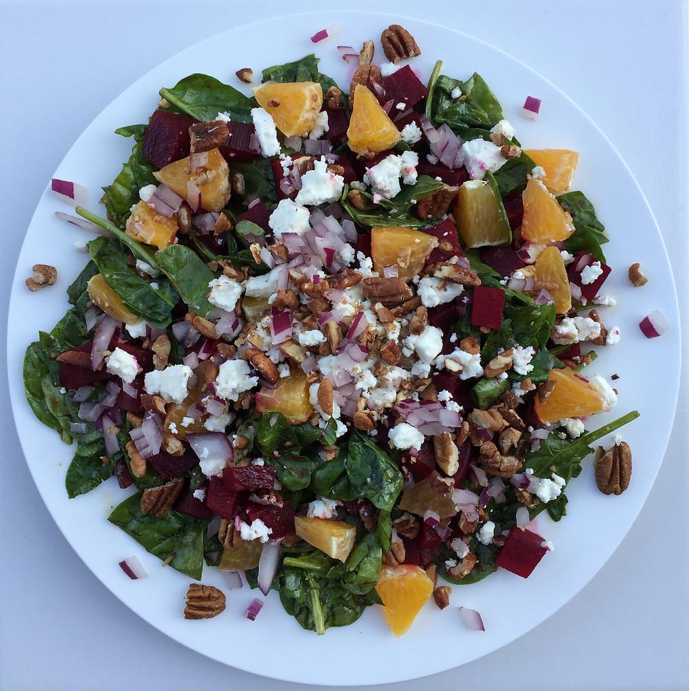 Spinach & Beet Salad with Orange Balsamic Vinaigrette