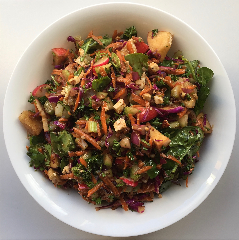 red cabbage, apple, pecan, carrot, celery, cucumber, radish, red onion salad with balsamic vinaigrette
