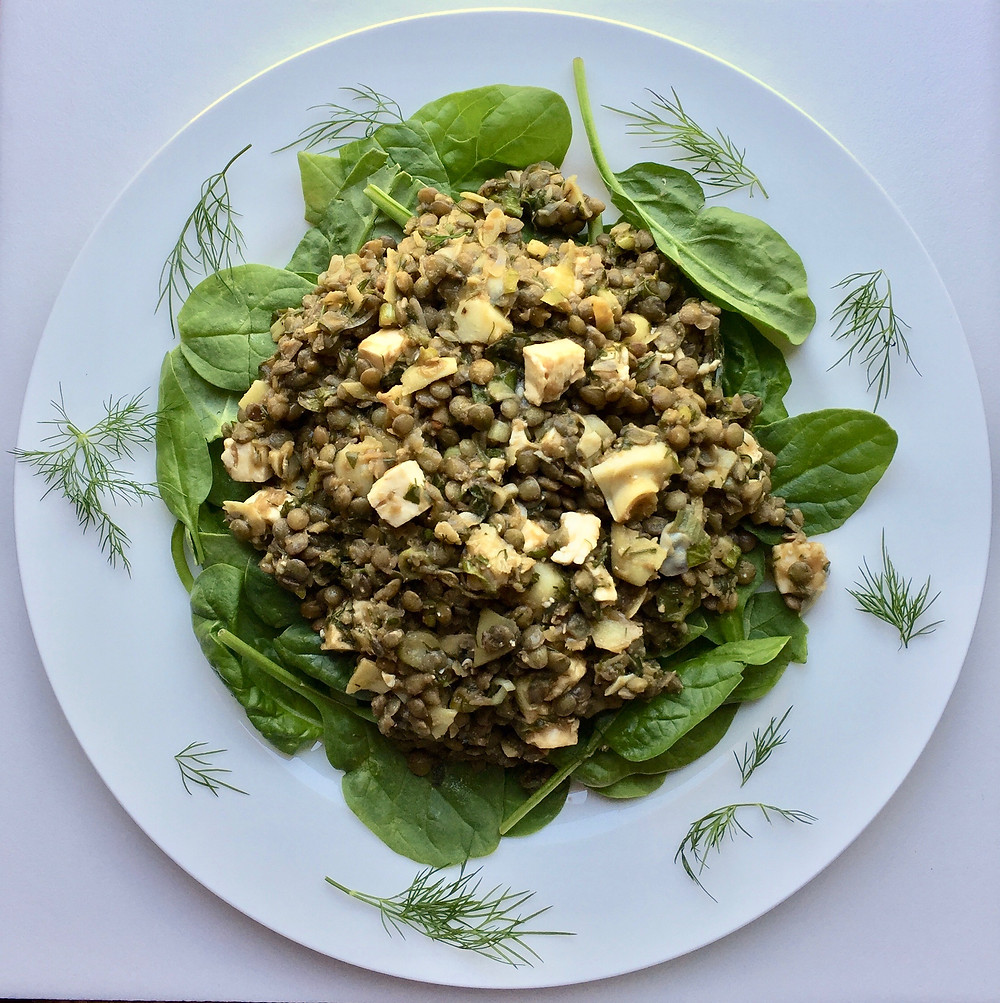 Lentil Salad with basil, dill and spinach