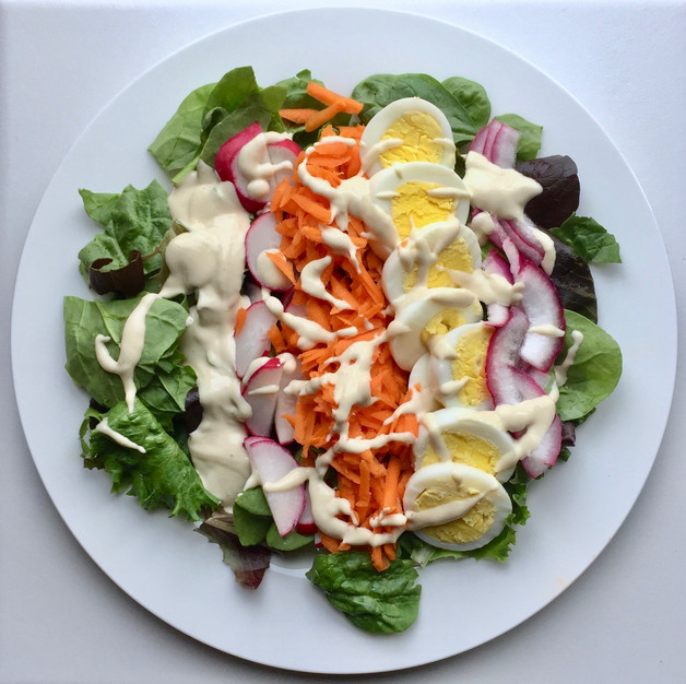 Fresh Spring Salad with Lemon Tahini Dressing (gluten free, Paleo, Whole30, dairy free, vegetarian)