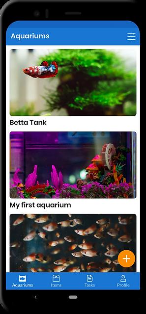 Aquarium app home screen showing multiple custom aquariums