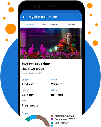 Aquarium app screenshot showing different details of a user's aquarium
