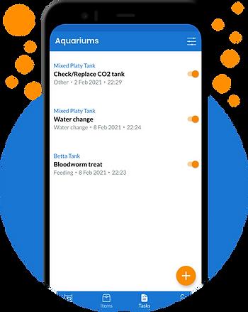 Aquarium app screenshot showing different tasks with preset reminders