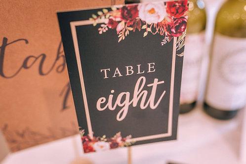 Custom designed wedding table numbers