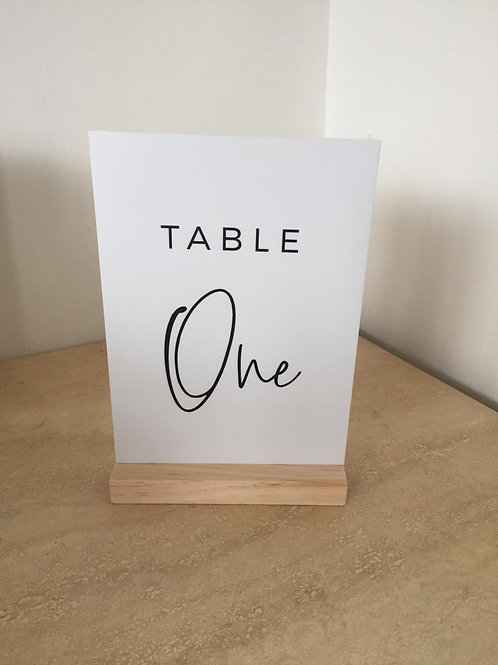 A5 Foam board table numbers with wooden base