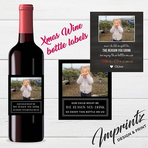 Christmas Wine Bottle label