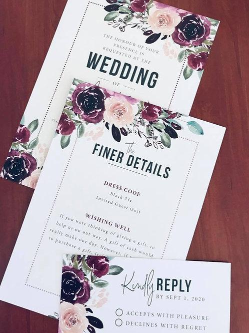 A6 - 3 Peice Wedding invitation set