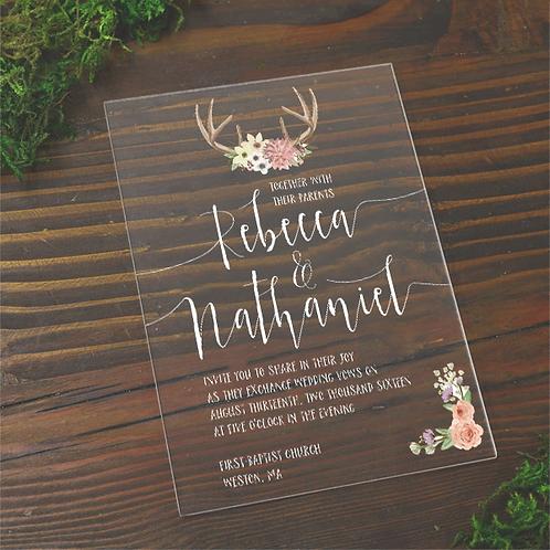 5x7 Transparent acrylic invitations