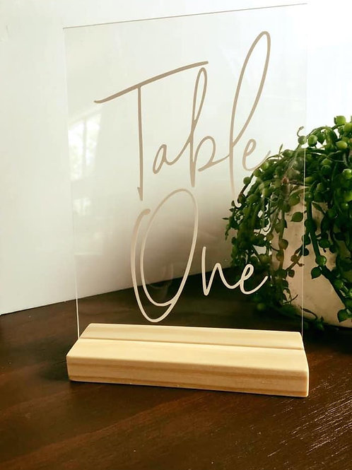A5 Transparent table numbers