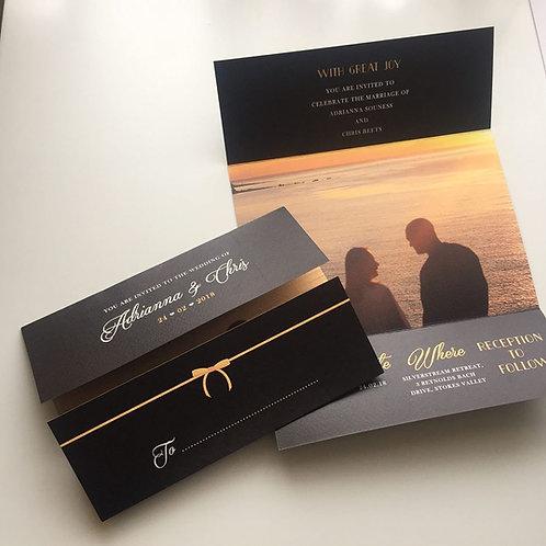 A4 Folded to gatefold wedding invitations