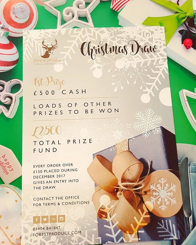 Christmas Draw; Every order over £150 will be entered into the £2500 total prize fund