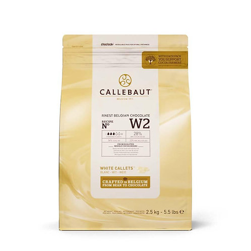Callebaut W2 White Pistoles 28%, 2.5kg