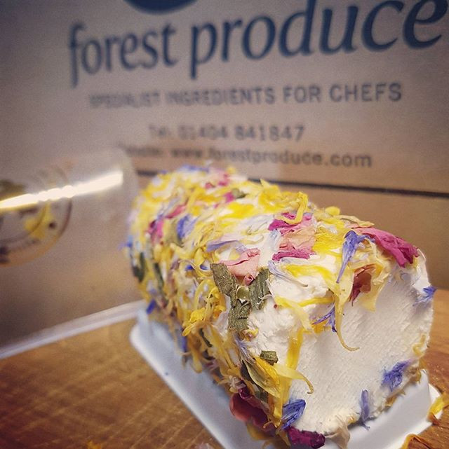 Beautiful New Line; French Goat's Cheese, rolled in edible flowers