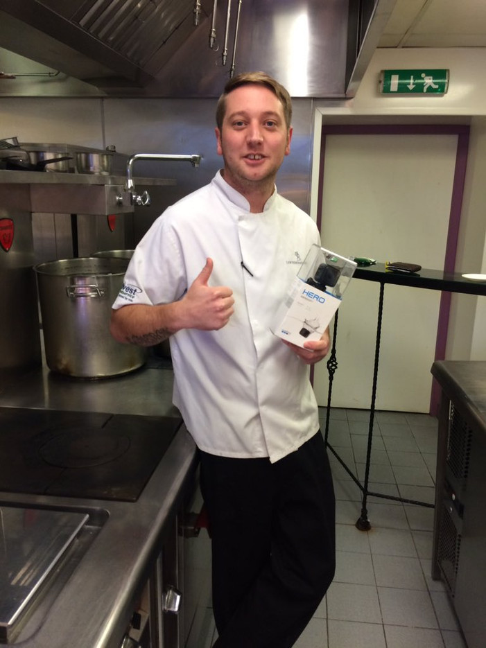 Chef Matt of Lewtrenchard Manor happy with their GoPro Christmas Draw Prize