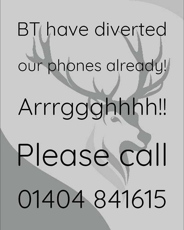 Apologies, BT have transferred phone lines early!