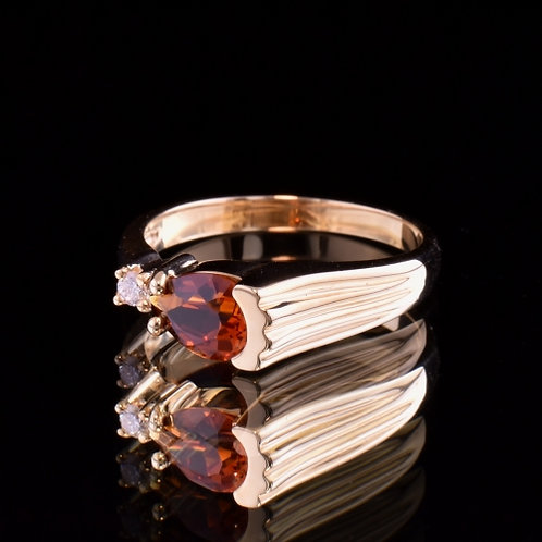 1.17 Carat Spessartite Garnet and Diamond Ring