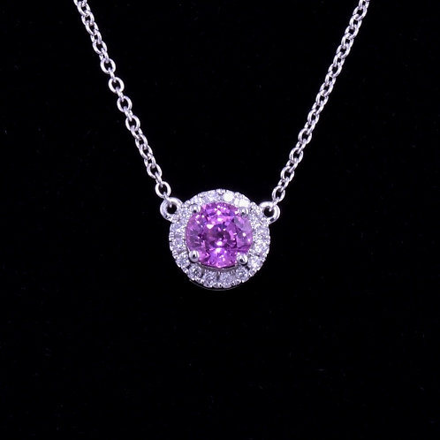 0.82 Carat Pink Sapphire and Diamond Necklace
