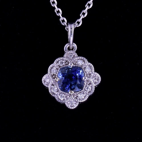1.27 Carat Sapphire and Diamond Pendant