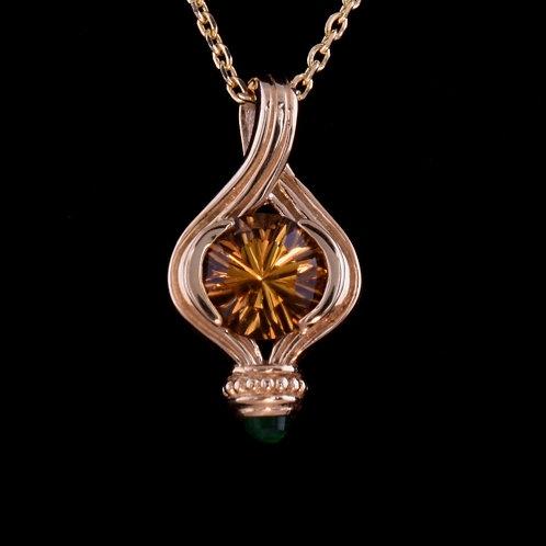 1.58 Carat Optix Cut Citrine and Emerald Pendant