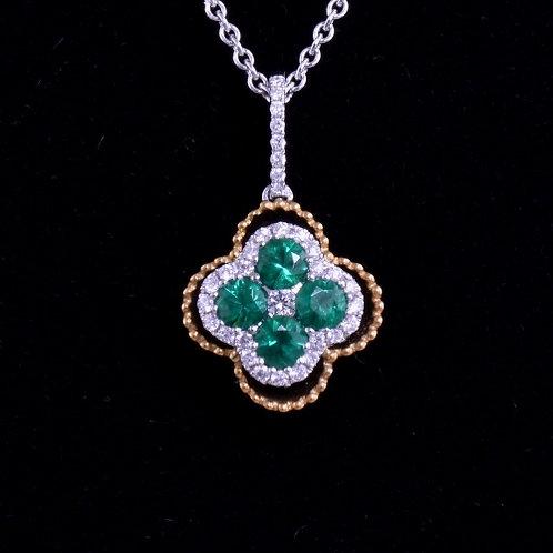 0.36 Carat Emerald and Diamond Two Tone Pendant