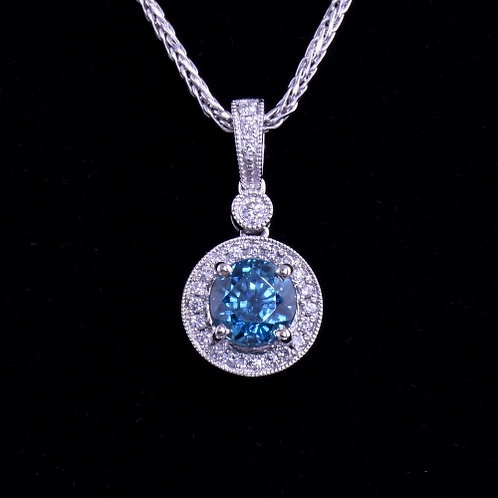 1.58 Carat Blue Zircon and Diamond Pendant