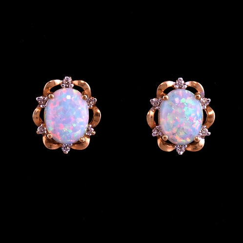 Synthetic Opal and Diamond Earrings