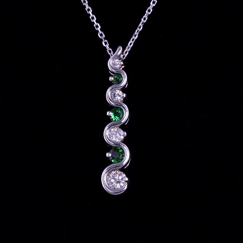 0.25 Carat Tsavorite and Diamond Pendant