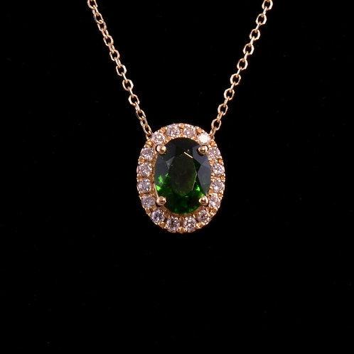 5.1 x 7.1 Tsavorite Garnet and Diamond Pendant