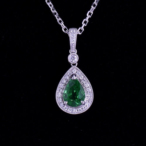 1.22 Carat Tsavorite and Diamond Pendant