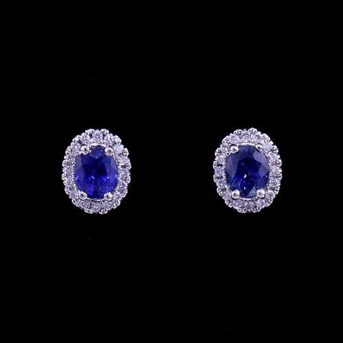 2.47 Carat Sapphire and Diamond Earrings