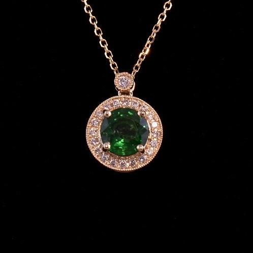 1.06 Carat Tsavorite Garnet and Diamond Pendant