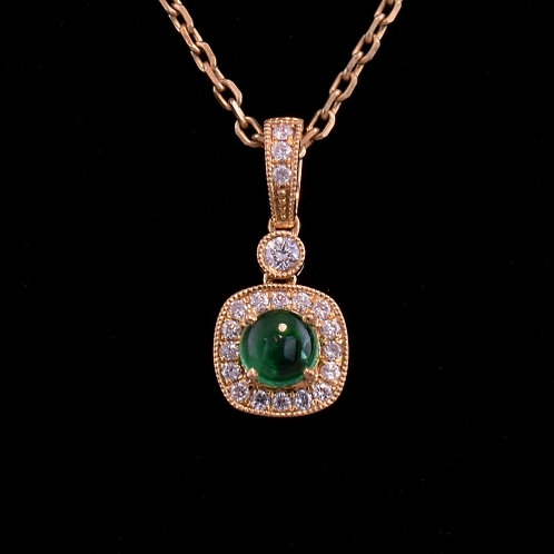 0.34 Carat Emerald and Diamond Pendant