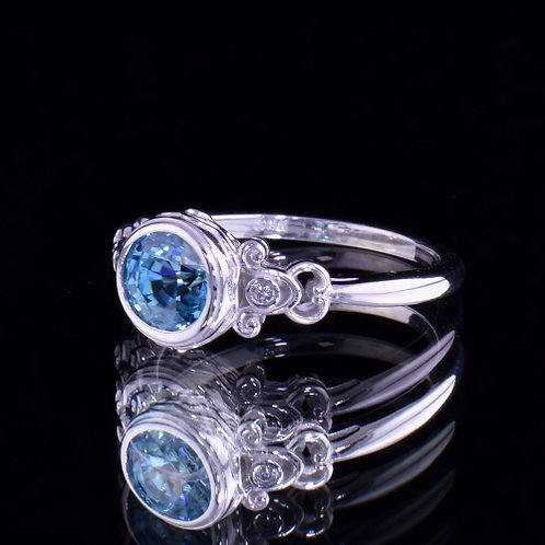 2 Carat Blue Zircon and Diamond Ring