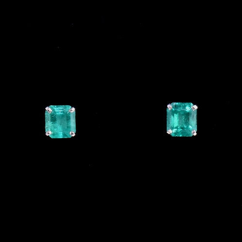 0.90 Carat Total Weight Emerald Earrings