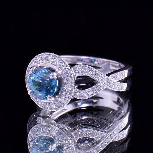 2.4 Carat Blue Zircon and Diamond Ring