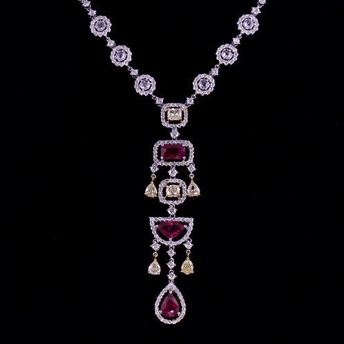 3.29 Carat Ruby and Diamond Necklace