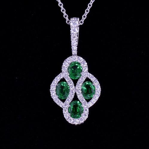 1.2 Carat Tsavorite and Diamond Pendant