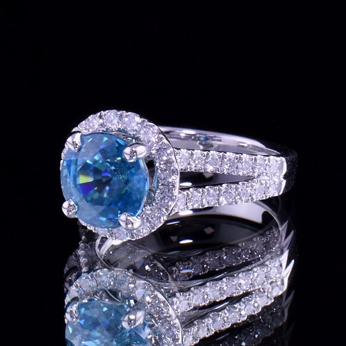 4.95 Carat Blue Zircon and Diamond Ring