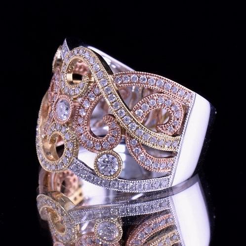 White, Yellow, and Rose Gold Diamond Ring