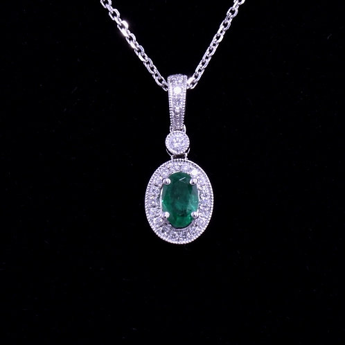 0.46 Carat Emerald and Diamond Pendant
