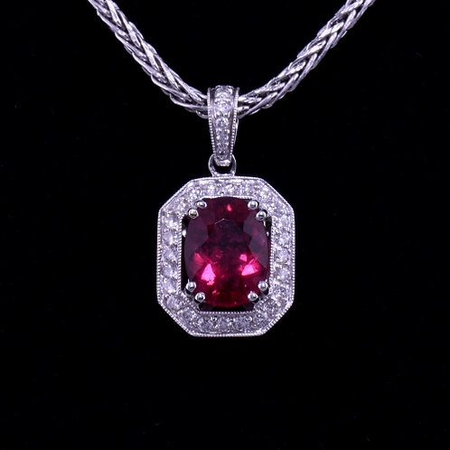 2.26 Carat Rubelite Tourmaline and Diamond Pendant