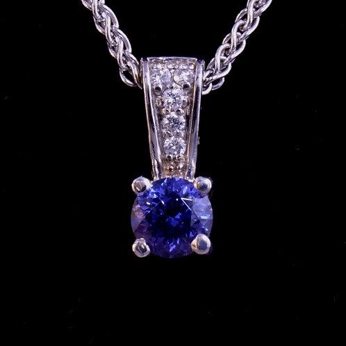 0.79 Carat Tanzanite and Diamond Pendant
