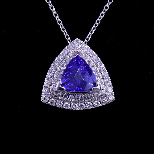 0.89 Carat Very Fine Tanzanite and Diamond Pendant